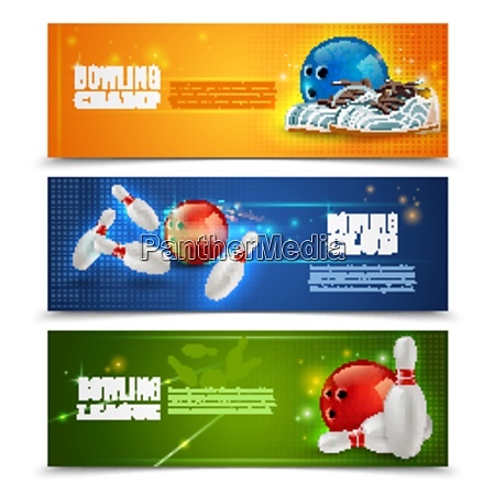 bowling horizontal banners set with bowling