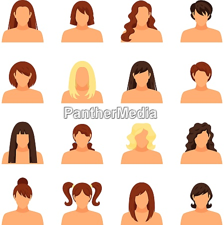 woman hairstyle icons set with face