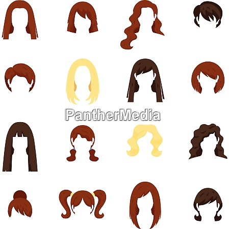 woman hair icons set with hairstyle