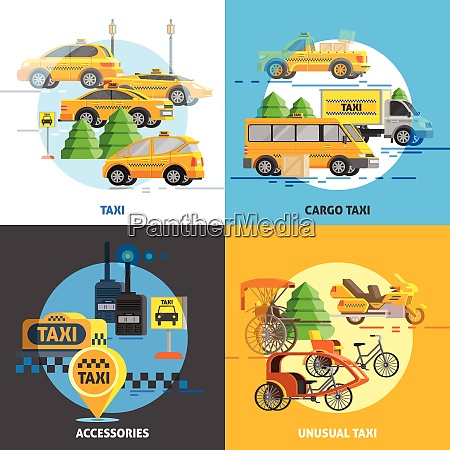 taxi service concept with different types