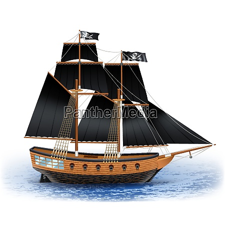 wooden pirate ship with black sails