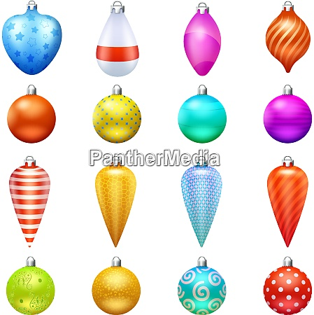 christmas toys and decorations in different
