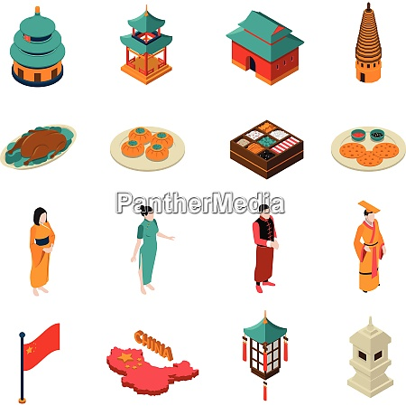 china isometric touristic set with traditional