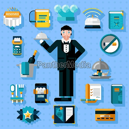 restaurant services icons set with butler