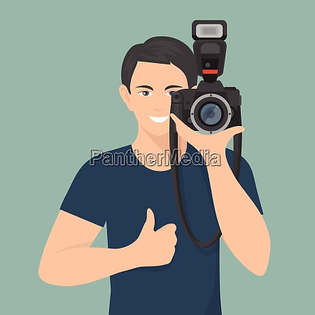 smiling male photographer with professional photo