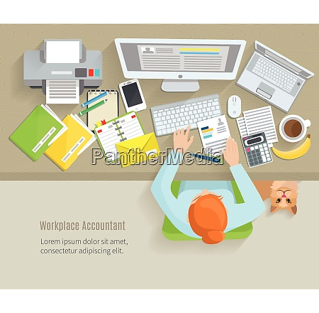 accounter top view workplace with woman