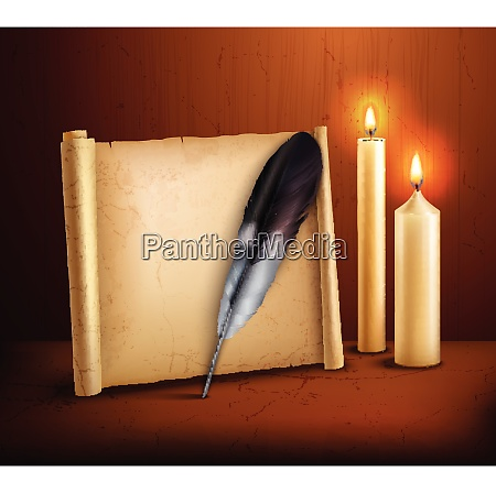 parchment paper with feather and burning