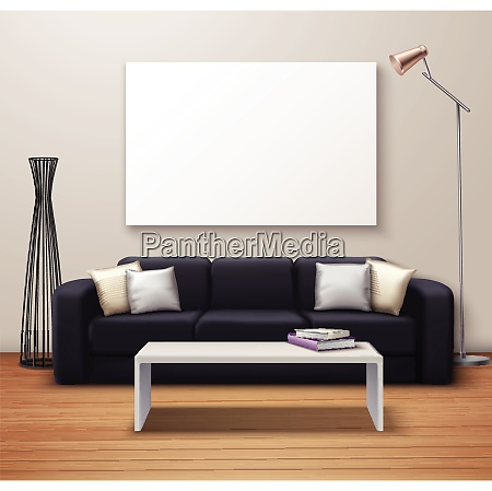 modern interior design realistic mockup poster