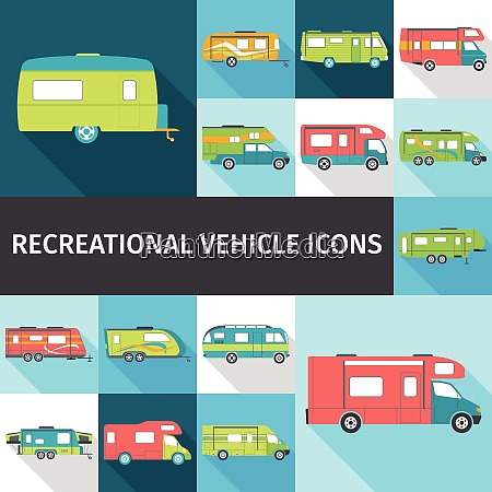 recreational vehicle flat long shadow icons