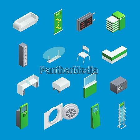 colorful isometric elements set for bank