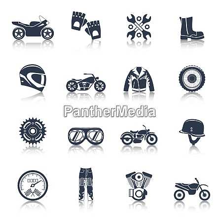 motorcycle icons black set with transportation