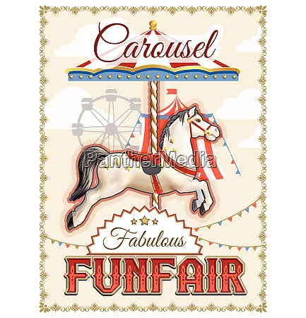 retro funfair or amusement park poster