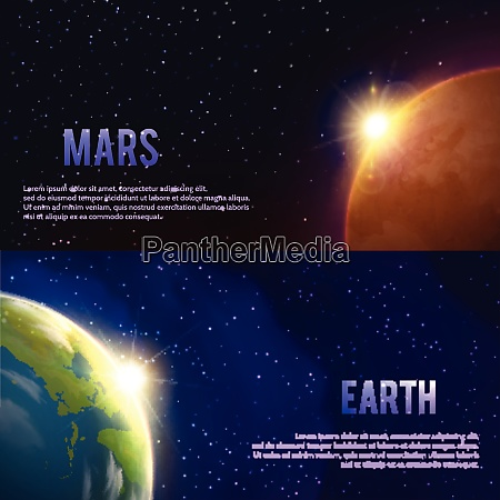 solar system horizontal realistic banners set