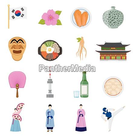 korean cultural symbols flat icons collection