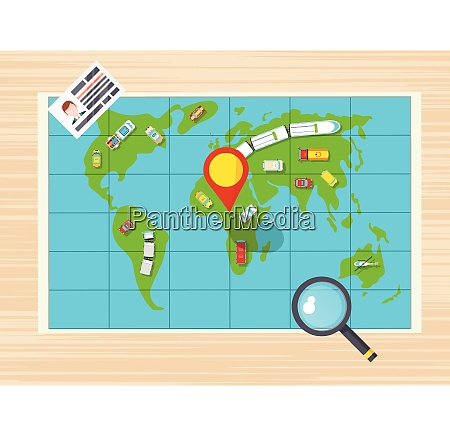 driver license magnifier and global map