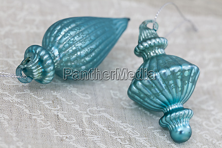 close up of turquoise christmas decoration