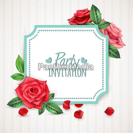 realistic invitation background with blooming roses
