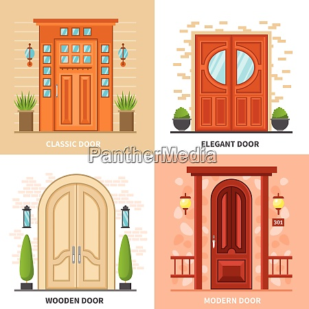 front modern and classic doors to