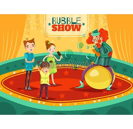 travel circus clown bubble show performance