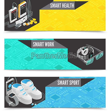 wearable technology horizontal banners with smart