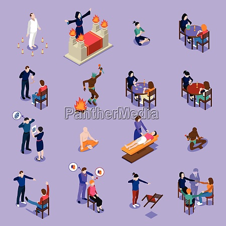 paranormal abilities isometric set with prediction