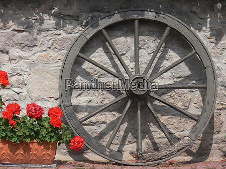 wooden wheel with wooden spokes next