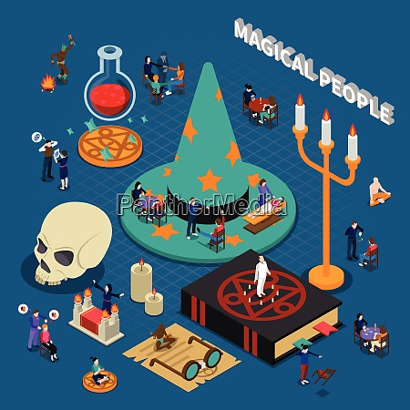 magical people isometric design with shaman