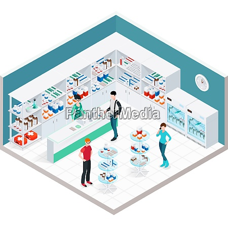 pharmacy interior isometric composition with indoor