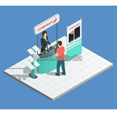 exhibition promotion composition with isometric stand