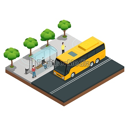 city wireless communication isometric concept with