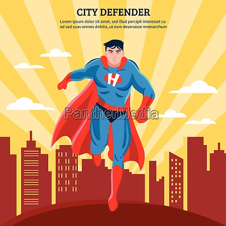 city defender flat vector illustration of