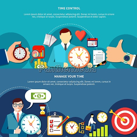 time management horizontal banners set with