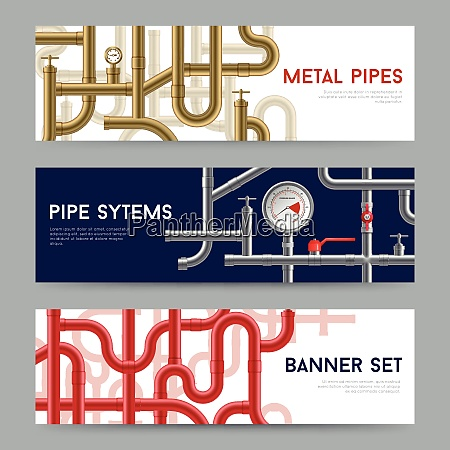 pipe system horizontal realistic banners set