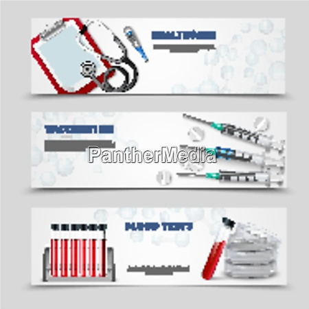 three horizontal banners set with realistic