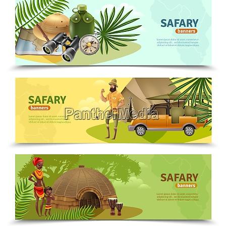 three isolated horizontal safari banner set