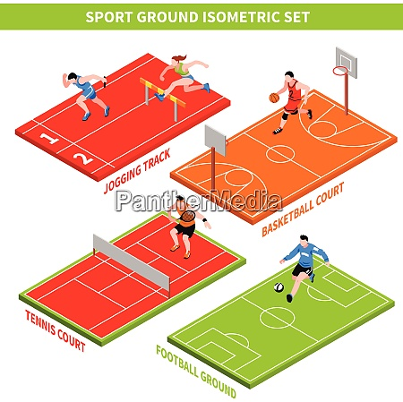 isometric concept with jogging track and