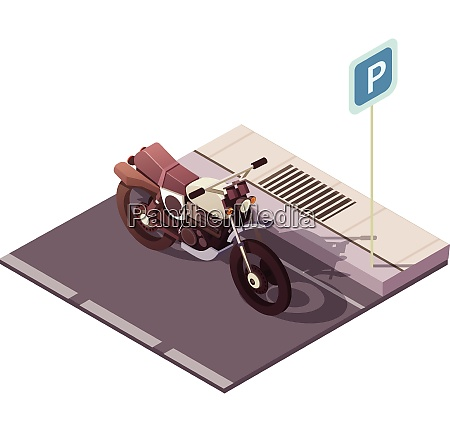 motorcycle parking isometric concept with city