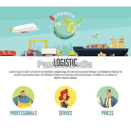 logistics page design with professionals and