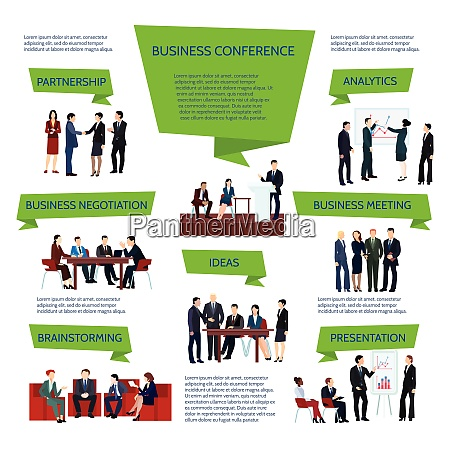 business people group infographics at meeting