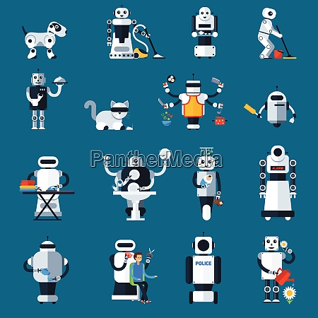 home robots collection helping and replacing