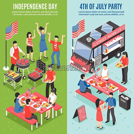 two vertical barbecue 4 july banner