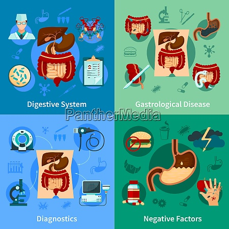 four square colored digestive system icon