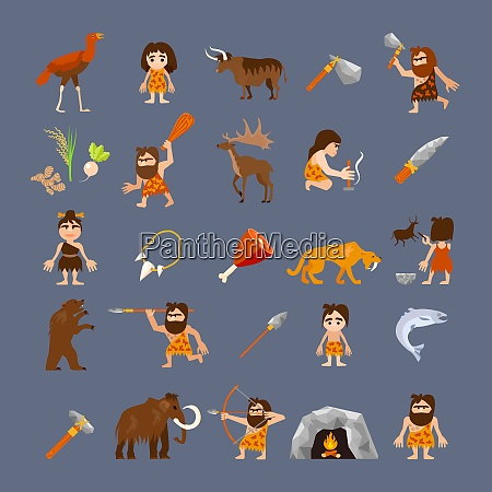 ancient flat icons collection with caveman