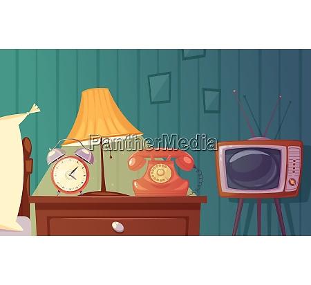 retro gadgets cartoon composition with alarm