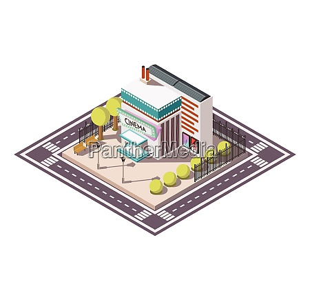 cinema building isometric composition with road