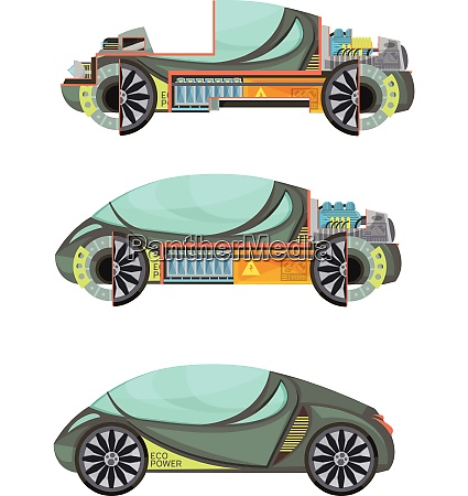 colorful eco friendly electro cars set
