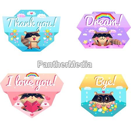 funny raccoon cartoon character 4 icons