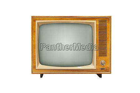 vintage analog tv set isolated on
