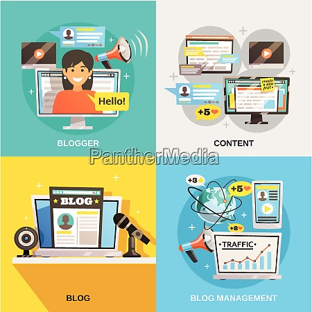 blogger concept square compositions set with