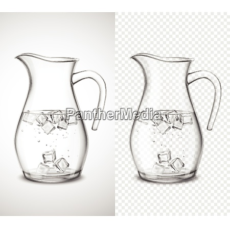 glass jug with water ice cubes